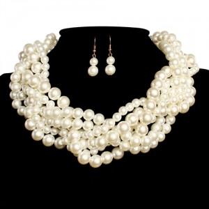 Twist Gold Chain Cream Pearl Necklace Set + Earrings