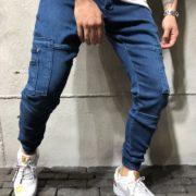 Cargo Jogger Jeans Pocket Details Blue 4
